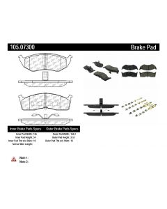 [105.07300] Centric Posi-Quiet Ceramic Disc Brake Pad w/Shims and Hardware-Preferred