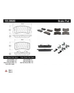 [105.08680]Centric Posi-Quiet Ceramic Brake Pads with Shims and Hardware