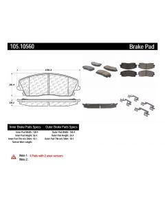 [105.10560]Centric Posi-Quiet Ceramic Brake Pads with Shims and Hardware