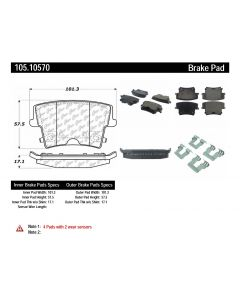 [105.10570]Centric Posi-Quiet Ceramic Brake Pads with Shims and Hardware
