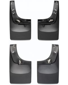 [110001-120001]1999-2007 Ford F-250/F-350/F-450/F-550 Weathertech Black No Drill Mudflaps Does not fit F-450/550; Will NOT fit with fender flares/trim Rear pair will NOT fit rear Dually Will fit with or with out factory running boards.