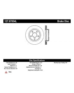 [127.67054L]StopTech Sport Drilled & Slotted Rotor, Left