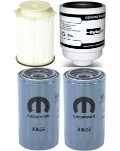 [68157291AA--PFF54529-05083285AA(x2)]Mopar/Racor fuel filter Kit(Contains both fuel fitlers) & 2 oil filters 2013-18 Dodge HD truck with 6.7 liter diesel