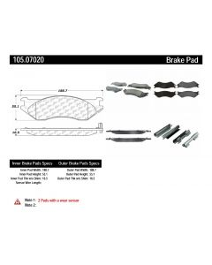 [105.07020]Centric Posi-Quiet Ceramic Brake Pads with Shims and Hardware