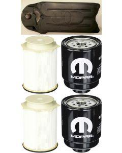 [68197867AA(x2)-68157291AA(x2)-CV52001]2013-18 Ram truck with 6.7 liter diesel Mopar fuel filter Kit(both fuel fitlers)x2 and Fleetguard CCV filter