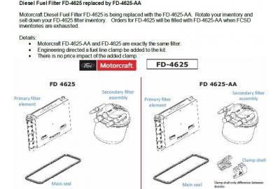 Ford supersedes FD4625(hc3a-9n184-c) to  FD4625AA(hc3a-9n184-J) for all 2017-2020 Ford 6.7L Powerstroke diesels.