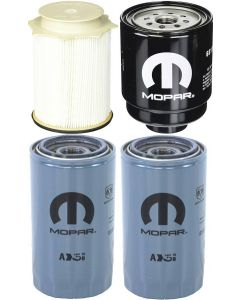 [68157291AA--68197867AB-05083285AA(x2)]Mopar fuel filter Kit(Contains both fuel fitlers) and 2 oil filters 2013-18 Dodge HD truck with 6.7 liter diesel